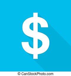 dólar, icon., vetorial, illustration.