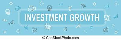 dólar, icono, banca, -, crecimiento, inversiones, símbolos, conjunto, etc