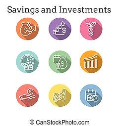 dólar, icono, banca, crecimiento, inversiones, símbolos, conjunto, etc