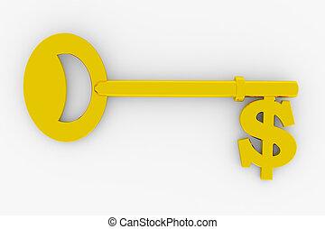 dólar, llave