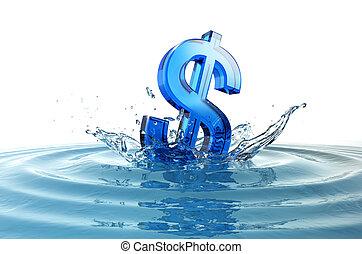 dólar, nosotros, señal, agua, salpicadura, caer