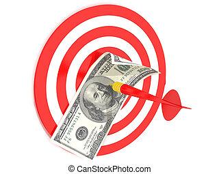 dólar, one-hundred, conta, dartboard