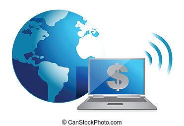 dólar, online, moeda corrente, conceito