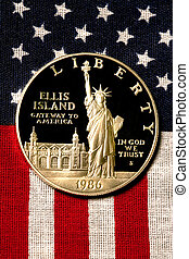 dólar prata, ligado, bandeira americana, 1986
