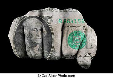 dólar, puño, nosotros, uno
