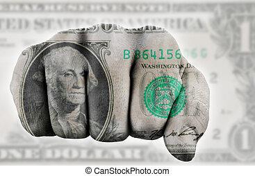 dólar, punho, nós, um