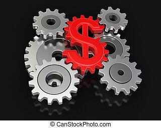 dólar, rueda dentada