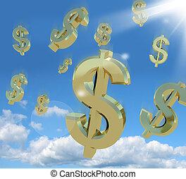 dólar, símbolos, queda, de, a, céu, como, um, sinal, de,...