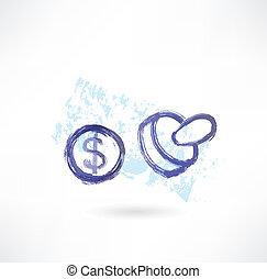 dólar, simbol, grunge, ícone