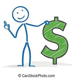dólar, stickman, aprovação