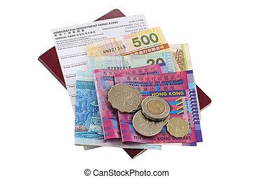 dólar, tarjeta, llegada, hong kong
