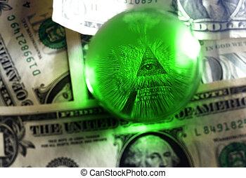 dólar, usd, ojo, cuenta, pirámide