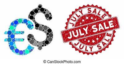 dólar, venda, euro, selo, julho, angústia, colagem, símbolos