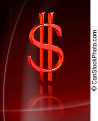 dólar, vermelho