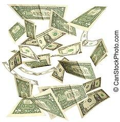 dólares, aislado, 3, plano de fondo, otoño, blanco