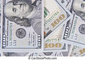 dólares, aislado, blanco