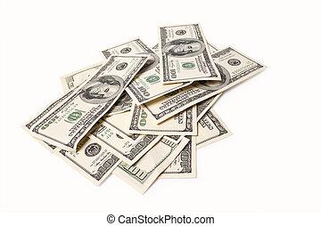 dólares, aislado, blanco, plano de fondo