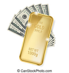 dólares, barra, oro