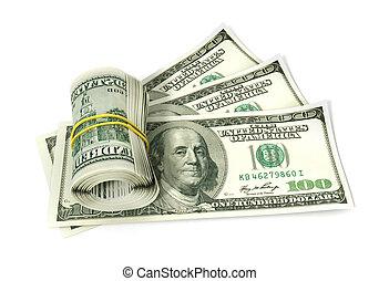 dólares, blanco, aislado, rollo
