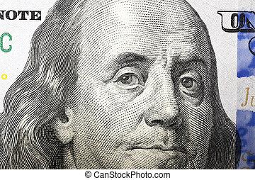 dólares, cem, nós, um