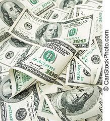 dólares, cien, montón
