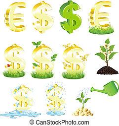 dólares, conjunto, euro