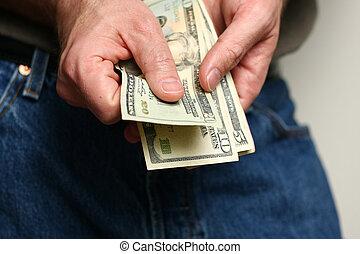 dólares, contagem, nós, homem