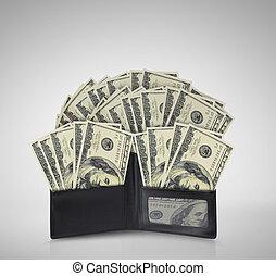 dólares, contas, carteira, derramando, saída