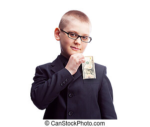 dólares, diez, niño