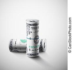 dólares, dos, rollos