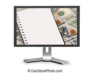 dólares, e, notepad, com, espaço cópia