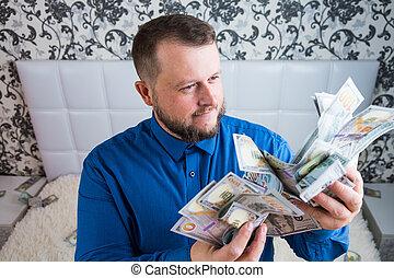 dólares., el suyo, asideros, terreno, efectivo, manos, goza, macho, riqueza, hombre, dinero., concepto, tremendo
