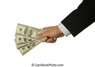 dólares, em, um, mão, de, a, homem negócios