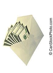 dólares, envelope