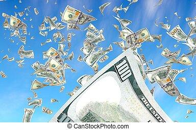 dólares, fondo., nuevo, contra, nosotros, billetes de banco...