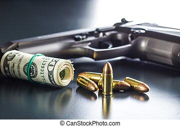 dólares, handgun., milímetros, balas, 9