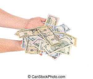dólares, hombre, Manos