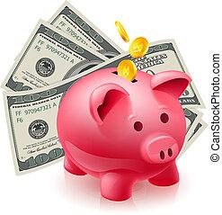 dólares, hucha, -, cerdo