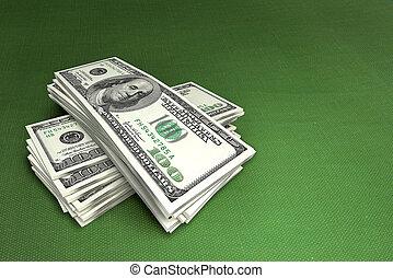 dólares, ligado, verde