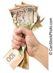 dólares, lleno, mano, canadiense