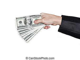 dólares, mão, de, a, homem negócios