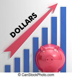dólares, mapa, americano, usd, progresso, levantamento, mostra