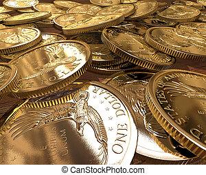 dólares, moedas, ouro
