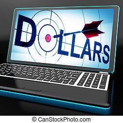 dólares, monedas, financiero, computador portatil, exposiciones