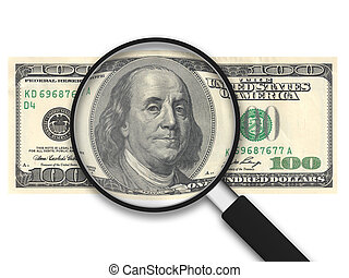 dólares, -, nós, vidro, 100, magnificar
