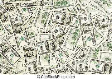 dólares, negócio, muitos, nós, fundo, 100