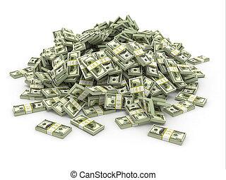 dólares., pila, dinero, paquetes