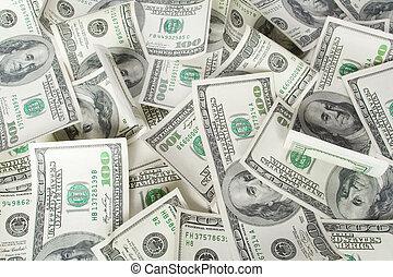 dólares., plano de fondo, dinero