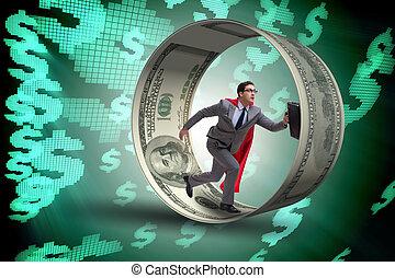 dólares, rueda, perseguir, hámster, hombre de negocios
