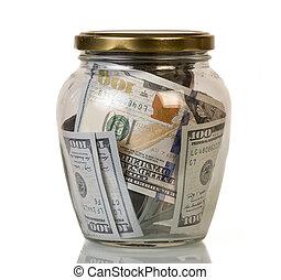 dólares, valor nominal, notas, cem, em, frasco vidro, isolated.
